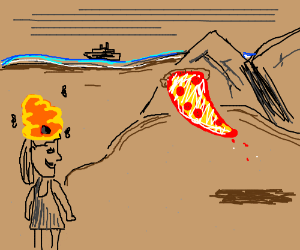 Woman w beehive hair, flying pizza, and ship