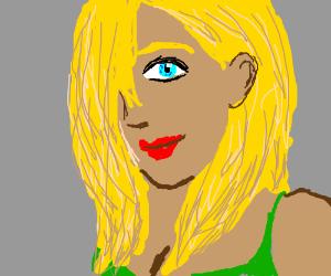 Bronzed, blond, lip painted, sloganer chick