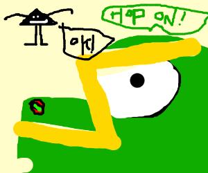 Triangle Man hos on to a dinosaur