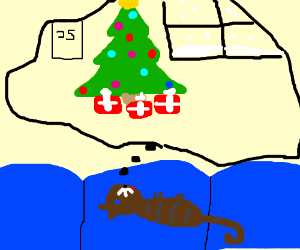 My cat's dreaming of a white Christmas