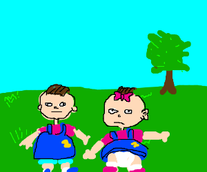 Phil and Lil are hungry in a field