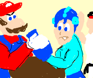 Mario and MegaMan arm wrestle, Others watch.