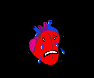 Beating heart cries blue tears