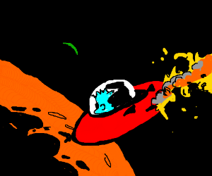 space man crashes into planet