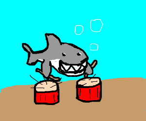 Shark playing the drums