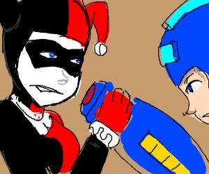 Harley Quinn arm wrestles Megaman