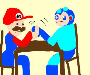 Mario and MegaMan arm wrestle