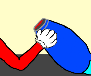 Mario & Maga Man armwrestleing death match