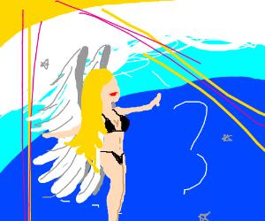 Angel comes from heaven in underwear