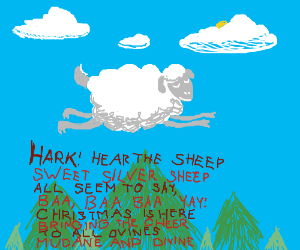 Lamb soars thru air while Xmas song is sung