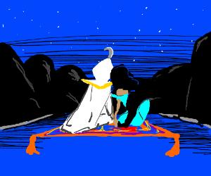 Aladdin and Jasmine go on a magic carpet ride