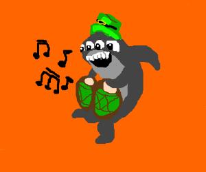 4-eyed shark playing bongos in green hat