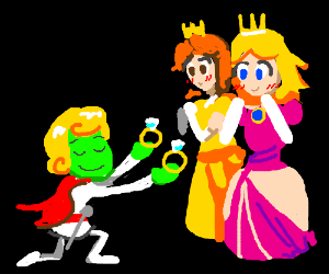 Prnc Charming proposes 2 Prncsss Daisy & Peach