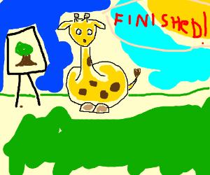 Baby giraffe paints a tree
