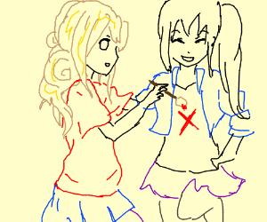 Blond paints X on girl's shirt. Yntec absent.