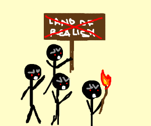 Raging stickman riots against land of realism
