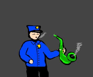 A policeman smoking through a green saxophone.