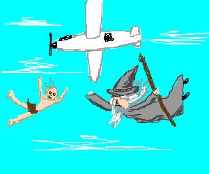 Gandalf n Gollum try skydiving w/o parachutes!