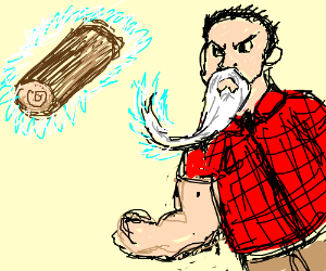 Burly man manipulates log with his magic beard