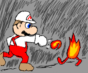 Man throwing fire at fire with hands
