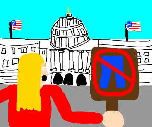 Woman protests pants in front of capitol.