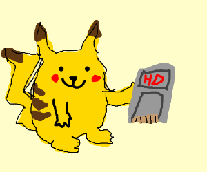 "Pikachu with ""HD GRAFIX"""