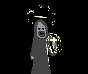 Jesus holds a minature glowing crucifix