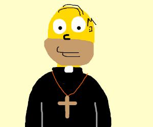 Homer Simpson the saintly priest