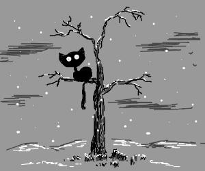 Tim Burton cat in dead tree during winter