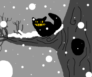 cheshire cat in a tree while it's snowing