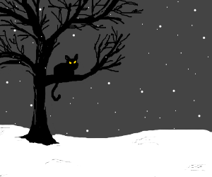 Black cat in tree with falling snow