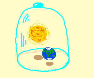 The sun and earth in a bell jar.