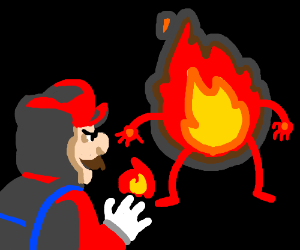 Mario fights fire with fire...Literally