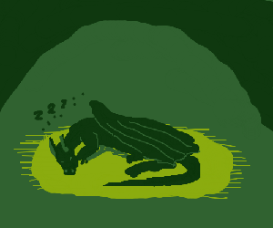 green dragon sleeping in  treasure cave