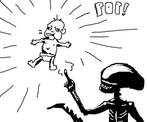 Alien creates ugly human baby from thin air