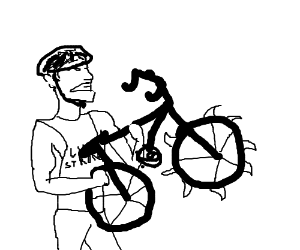 Lance Armstrong uses bike for the quickening