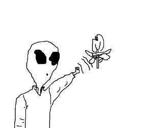 Alien manipulates strange flower