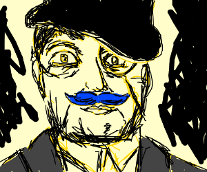 classy man with blue moustache