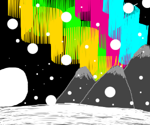 Aurora Borealis over the snowy mountains