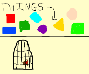 Coloured things and an insect in a cage