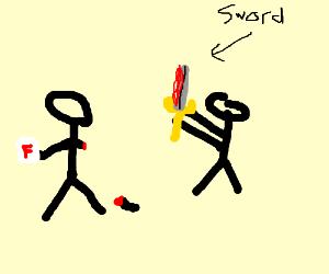 Failed sword exam