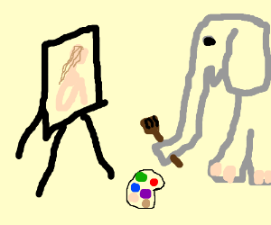 Elephant uses trunk for meta art.