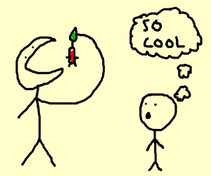 Stickman eats Pikmin to show off