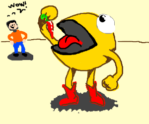 man admires pacman in human form eating pepper