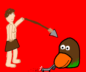 Man throws a spear at duckface with a vacuum