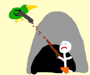 Caveman hunts duck, but the duck has a gun!