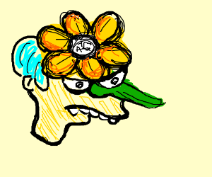 Mr burns with a flower head an stem nose