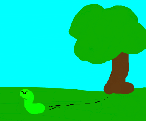 A caterpillar escaping from a tree.