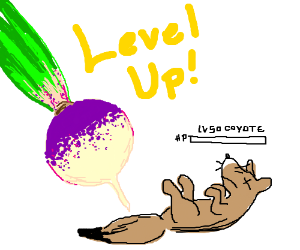Turnip leveled up for defeating Coyote Level50