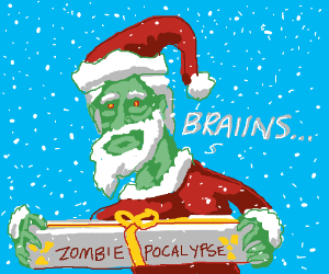 Zombie Santa gives the gift of Zombiepocalypse